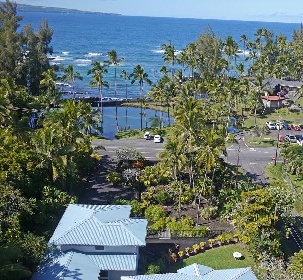 Aerial house and beach park