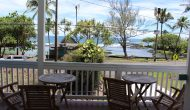 Hibiscus vacation rental house view of Hilo bay at Richardson's Beach Park.